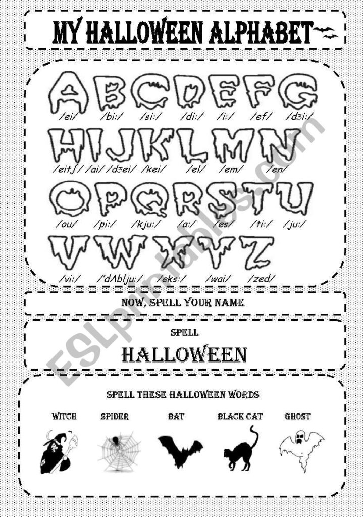 My Halloween Alphabet   Esl Worksheeteowen Regarding Alphabet Halloween Worksheets