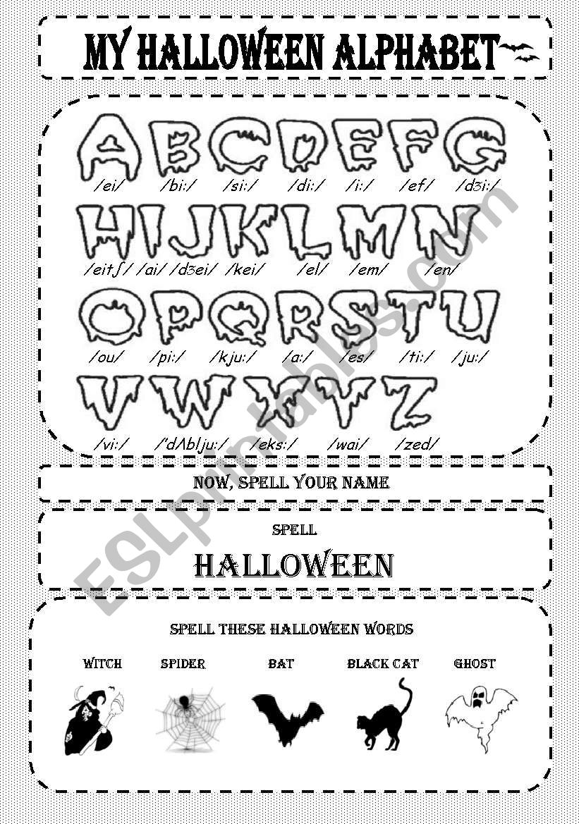 My Halloween Alphabet - Esl Worksheeteowen regarding Alphabet Halloween Worksheets