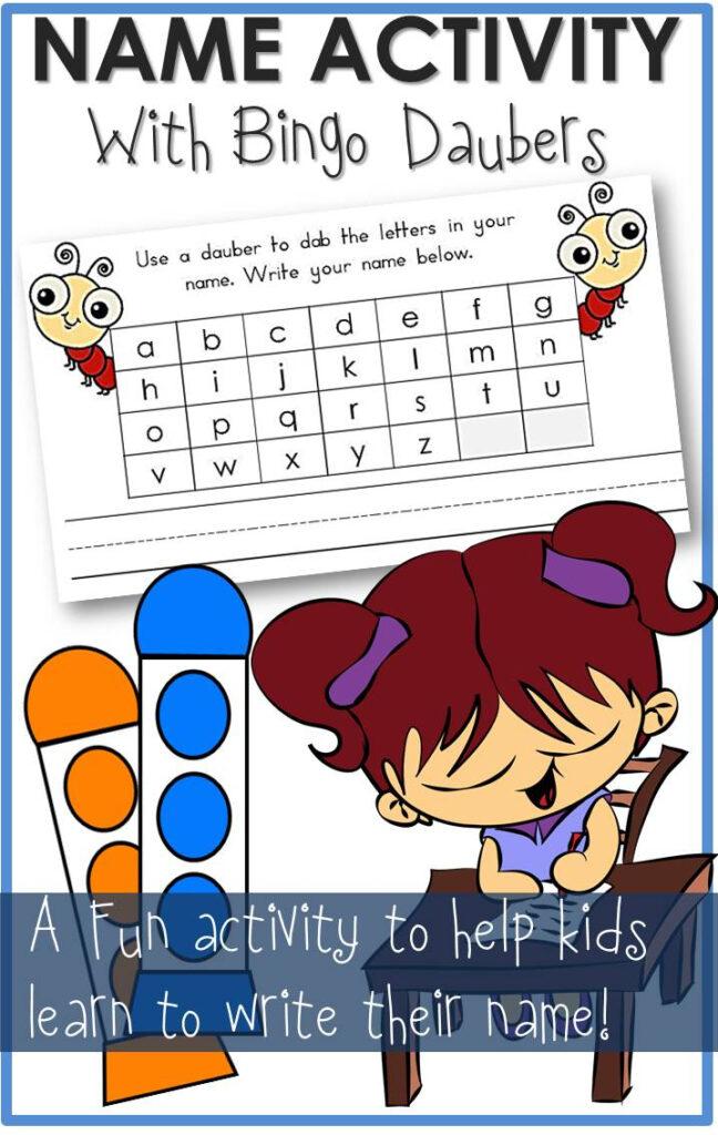 Name Activity Bingo Daubers Worksheet   The Relaxed Homeschool In Alphabet Dauber Worksheets