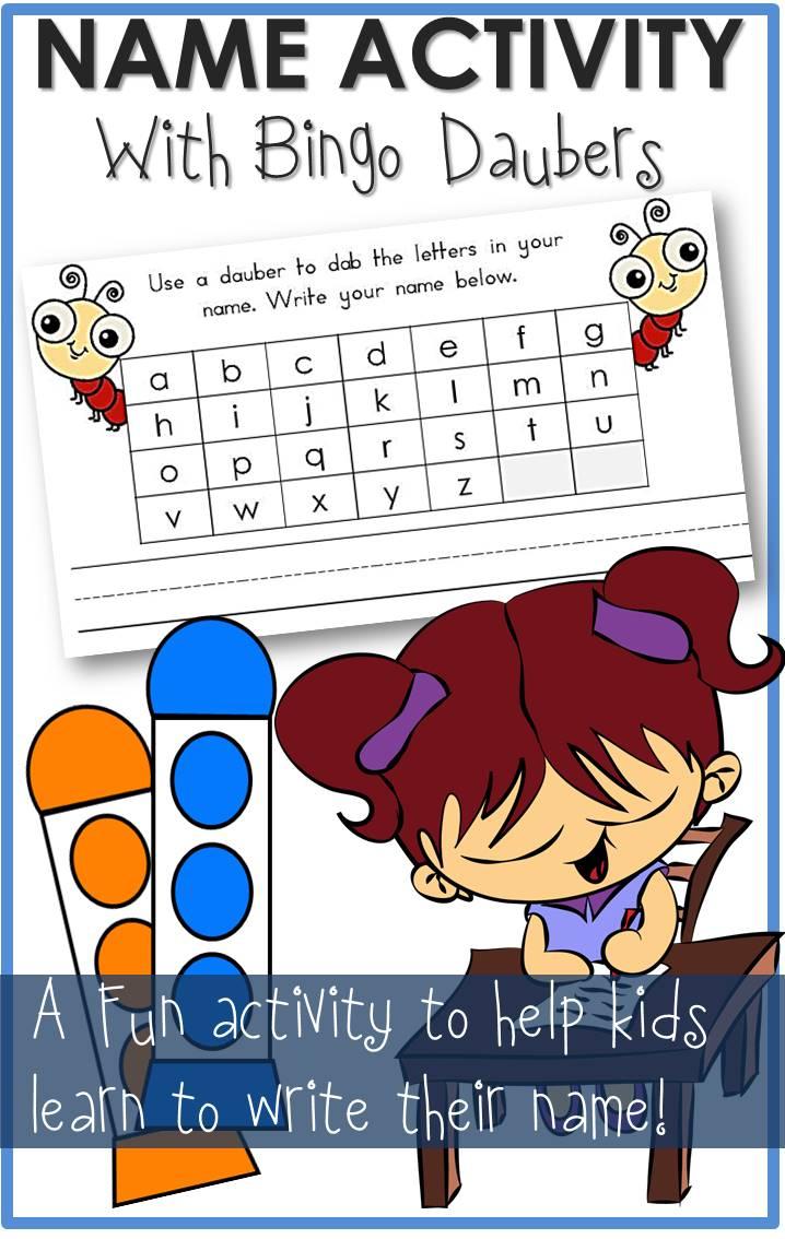 Name Activity Bingo Daubers Worksheet - The Relaxed Homeschool in Alphabet Dauber Worksheets