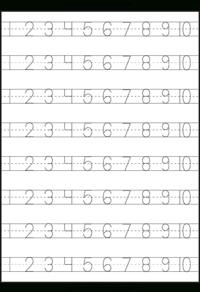 Number Tracing 1 10   Worksheet | Kindergarten Worksheets With Grade 1 Alphabet Tracing Worksheets