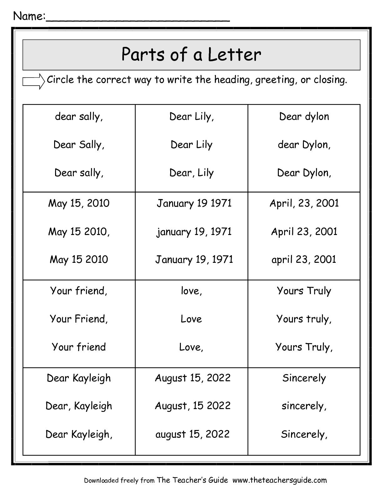 Parts Of A Friendly Letter Worksheet | Friendly Letter for Letter Writing Worksheets For Grade 3