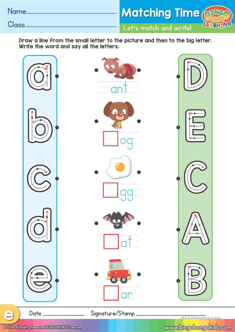 Phonics Matching Time Worksheet (Uppercase & Lowercase A-E with Letter Matching Worksheets
