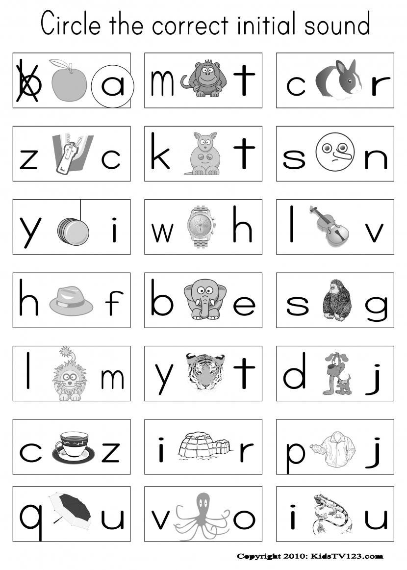 Phonics Worksheets For Kindergarten Free Koogra throughout Grade 1 Alphabet Worksheets Pdf