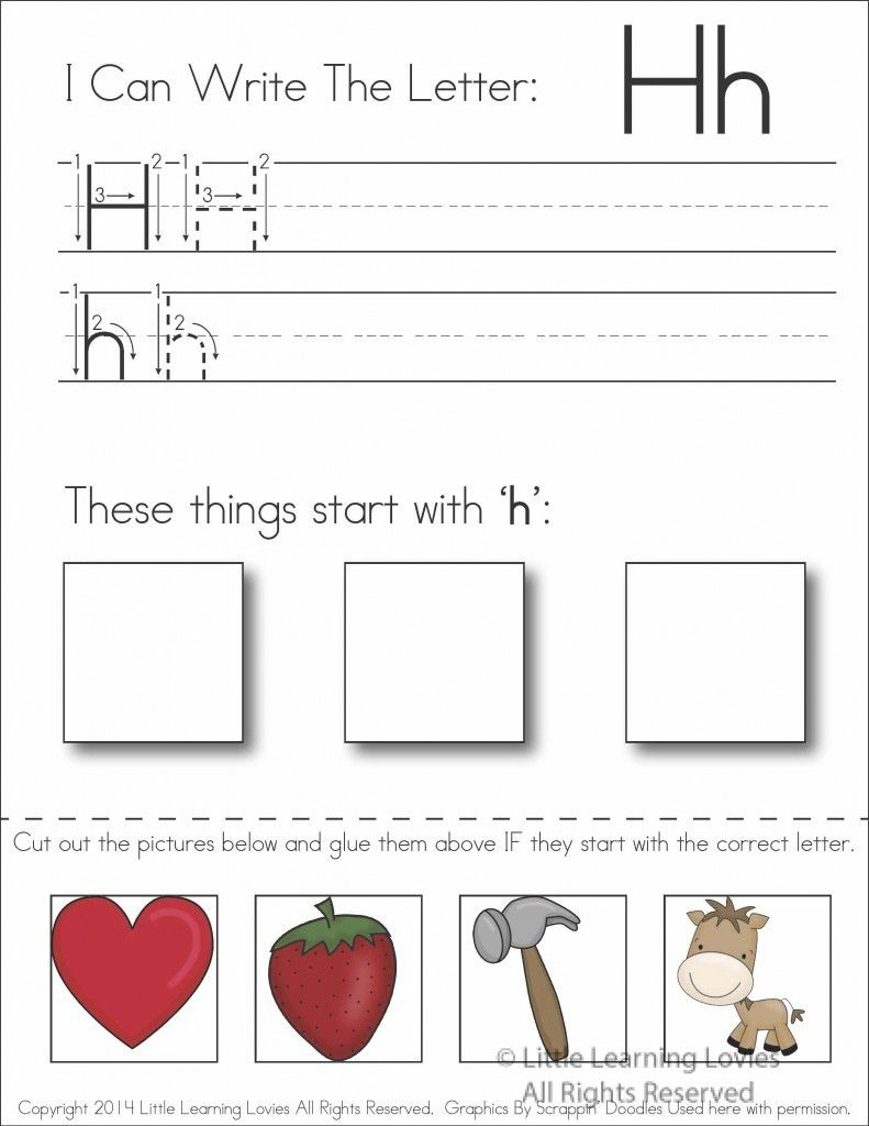 Pin On Education in Letter H Worksheets Cut And Paste