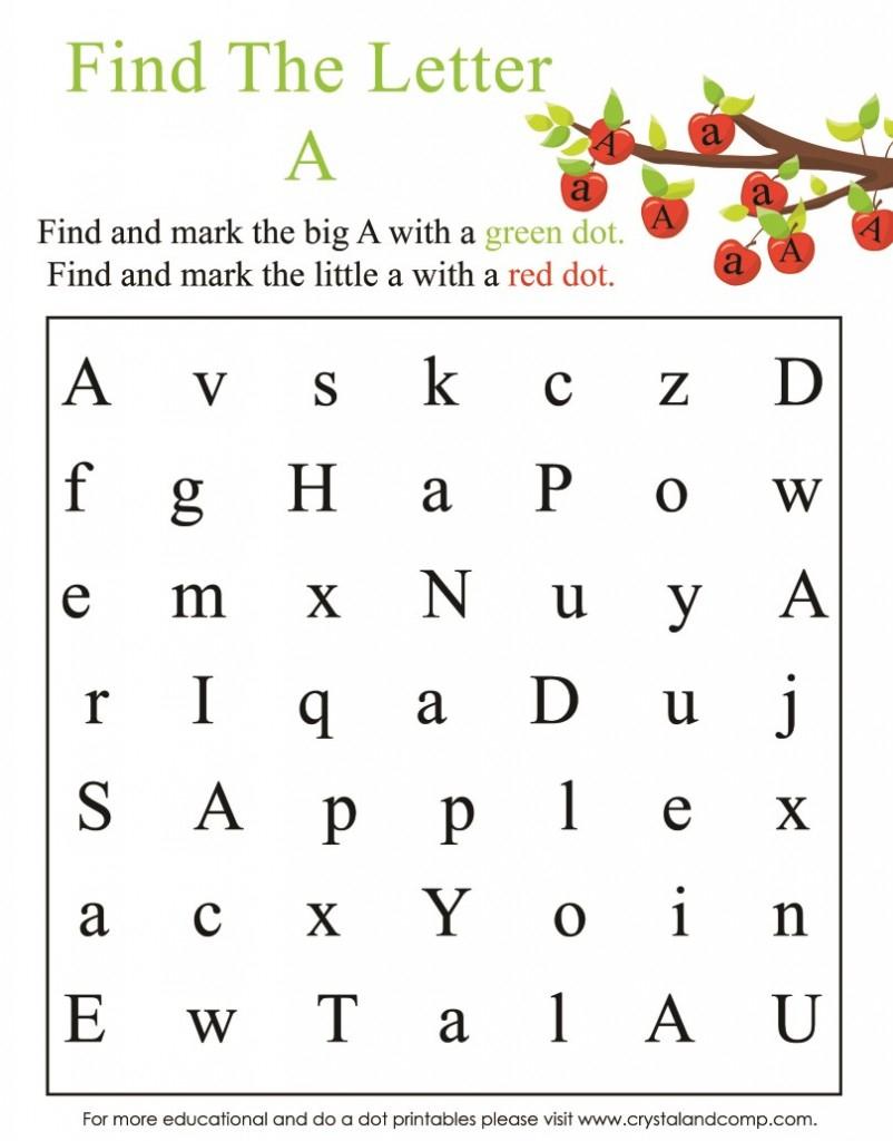 Preschool Do Dot Printables Is For Apple Long Worksheets Inside Letter A Worksheets For Preschool