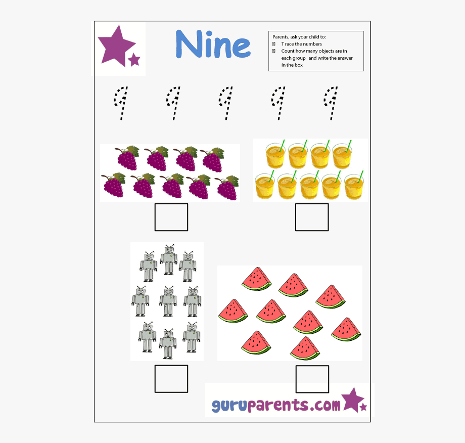 Preschool Number 9 Worksheet - Letter A Worksheets For with Letter 9 Worksheets
