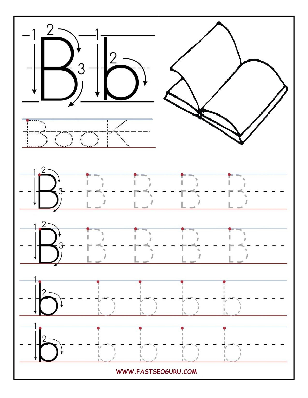 Printable Letter B Tracing Worksheets For Preschool in Alphabet Tracing Worksheets B