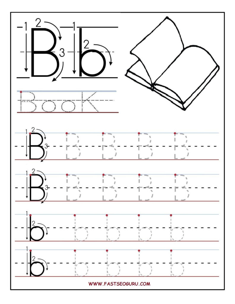 Printable Letter B Tracing Worksheets For Preschool In Letter B Worksheets For Prek