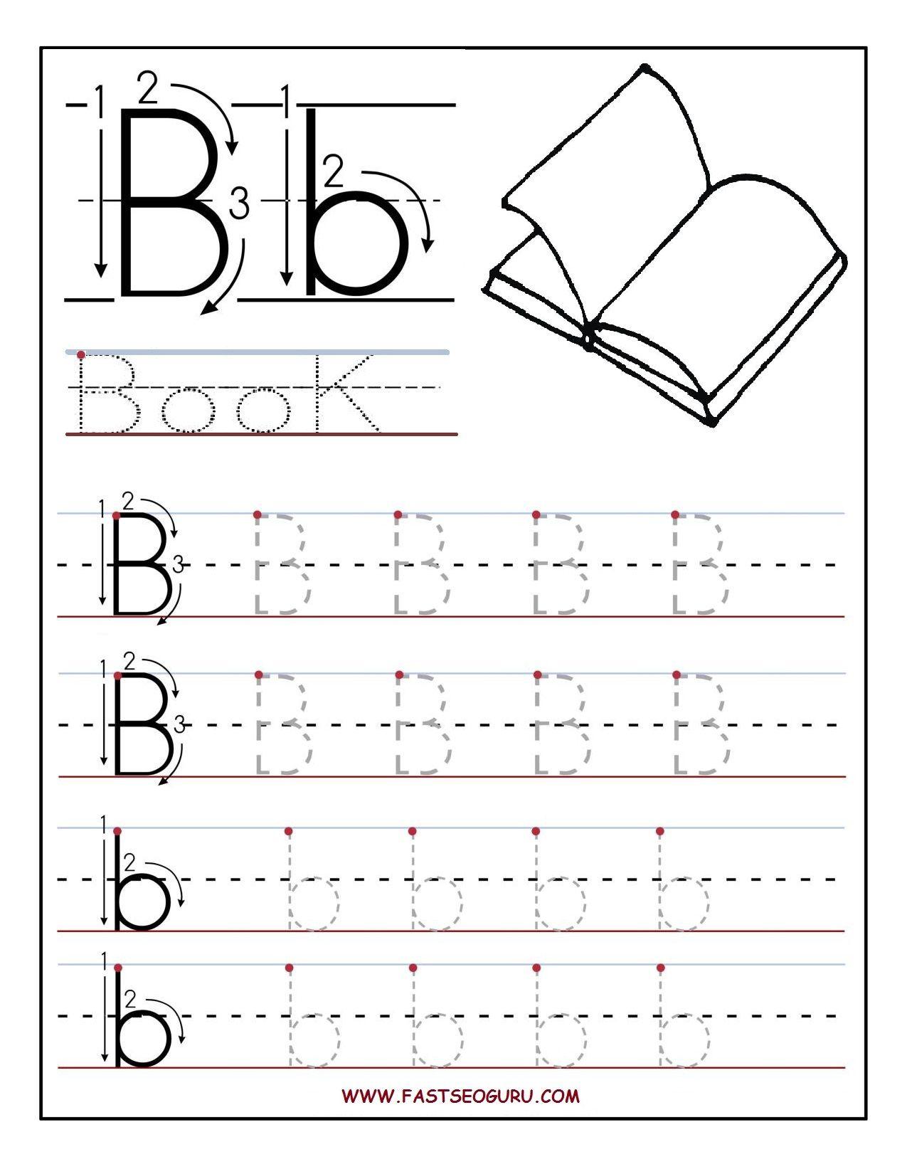 Printable Letter B Tracing Worksheets For Preschool regarding Alphabet Worksheets Letter B