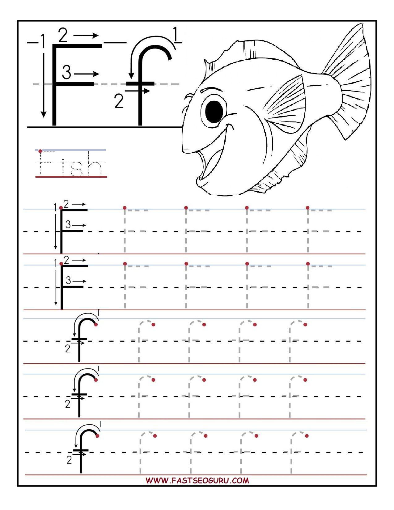 Printable Letter F Tracing Worksheets For Preschool | April in Letter F Worksheets Prek