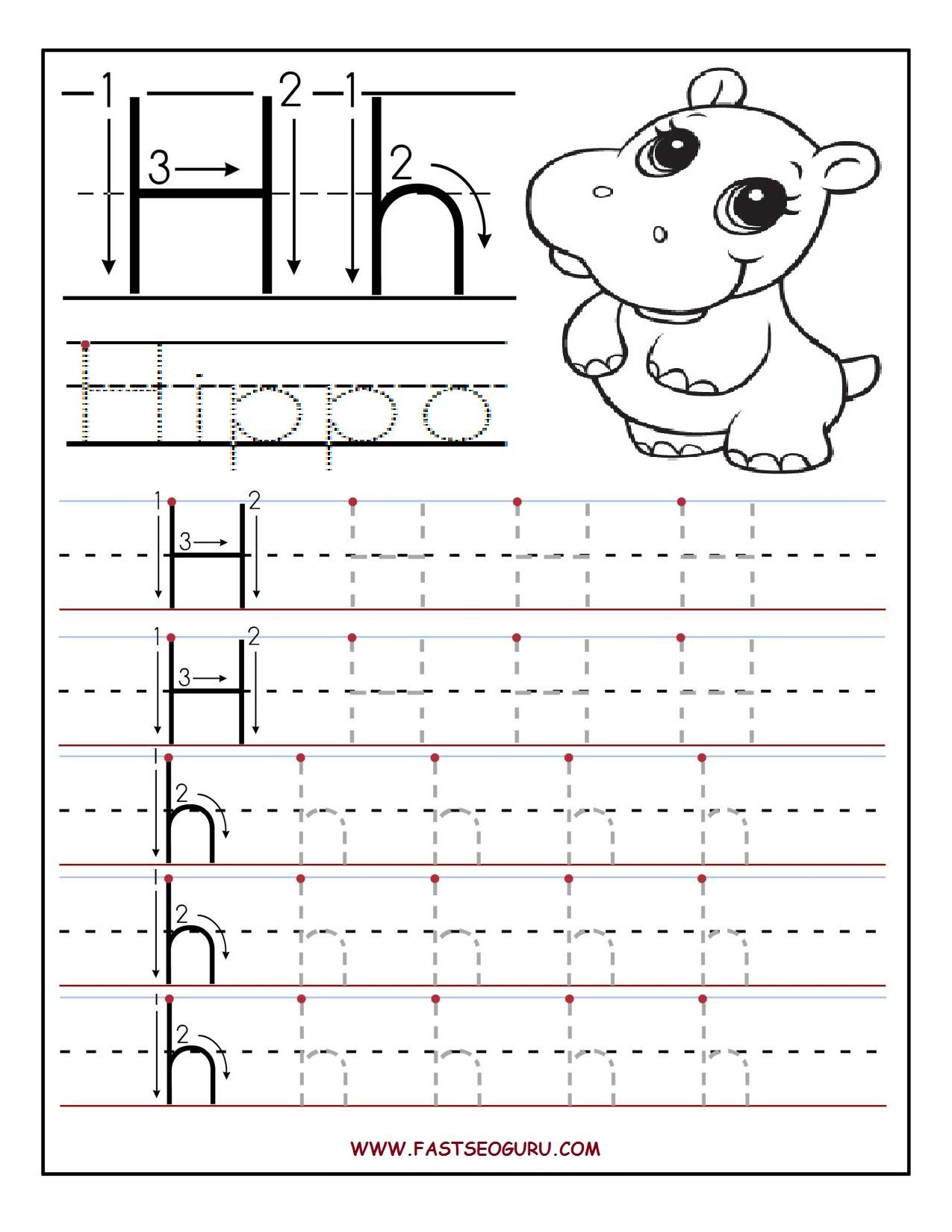 Printable Letter H Tracing Worksheets For Preschool inside Letter H Worksheets For First Grade