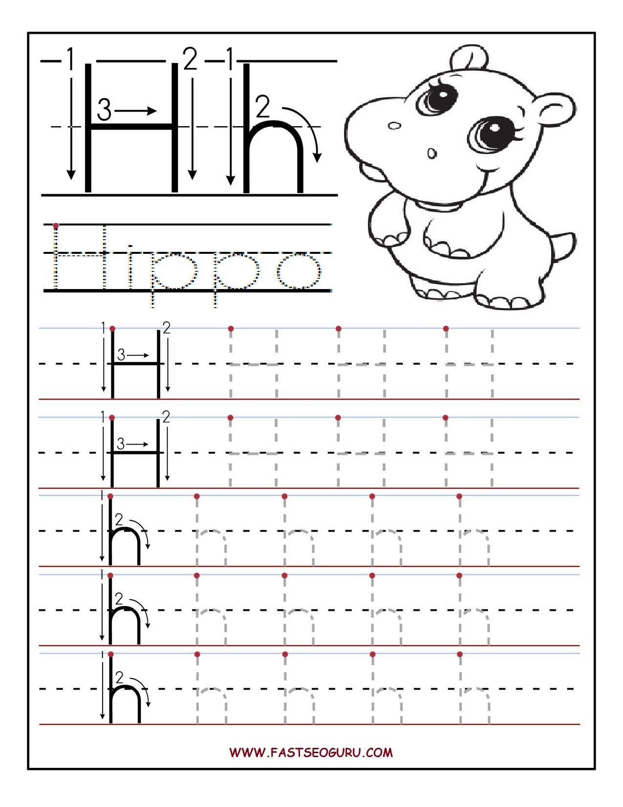 Printable Letter H Tracing Worksheets For Preschool regarding Letter H Worksheets Free