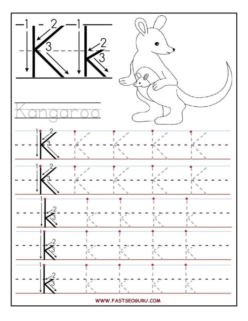 Printable Letter K Tracing Worksheets For Preschool | Letter For Letter K Worksheets Printable
