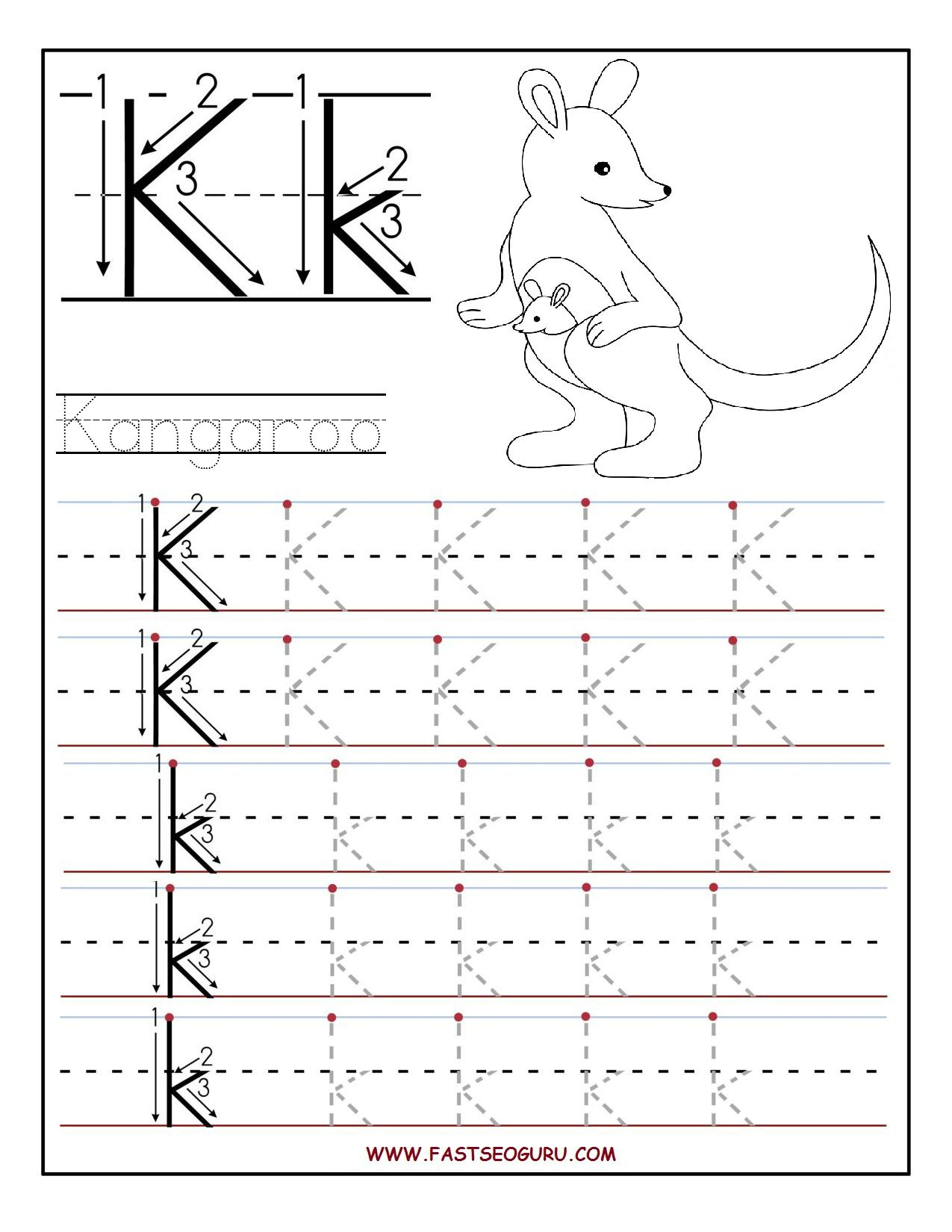 Printable Letter K Tracing Worksheets For Preschool | Letter intended for Letter K Worksheets For Kinder
