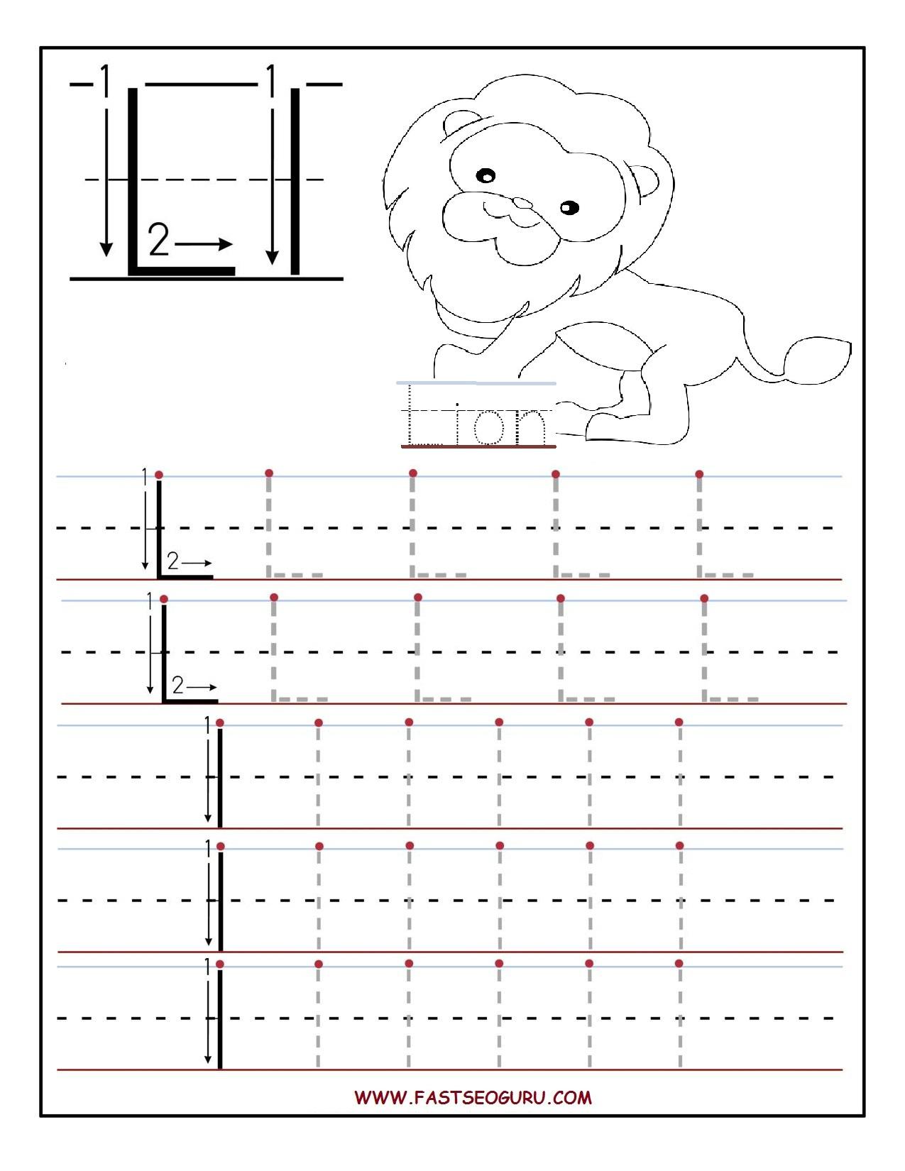 Printable Letter L Tracing Worksheets For Preschool throughout Letter L Worksheets Printable