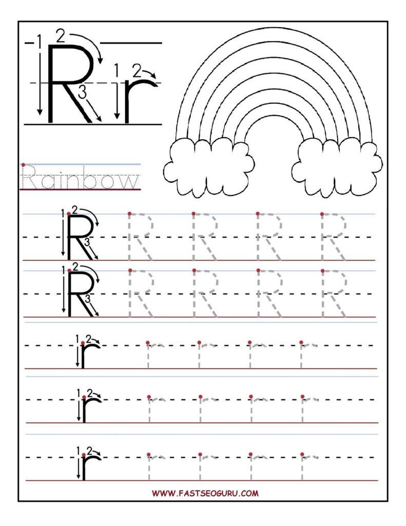 Printable Letter R Tracing Worksheets For Preschool Throughout Letter R Worksheets