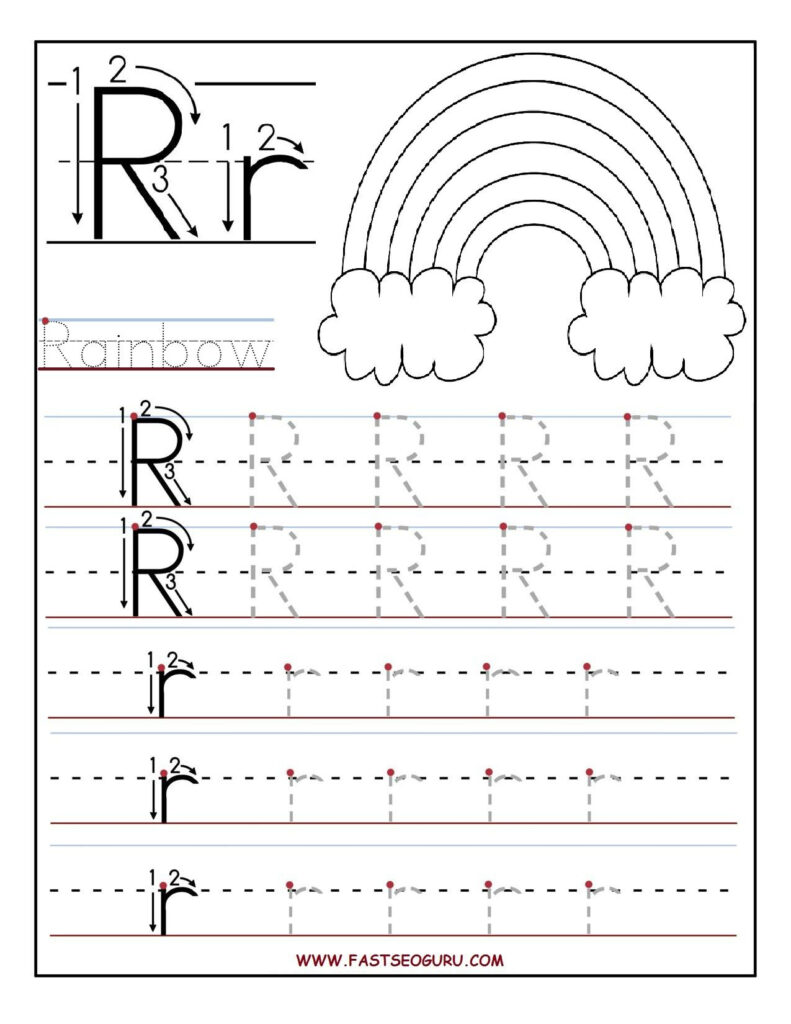 Printable Letter R Tracing Worksheets For Preschool Within Alphabet Review Worksheets For Pre K