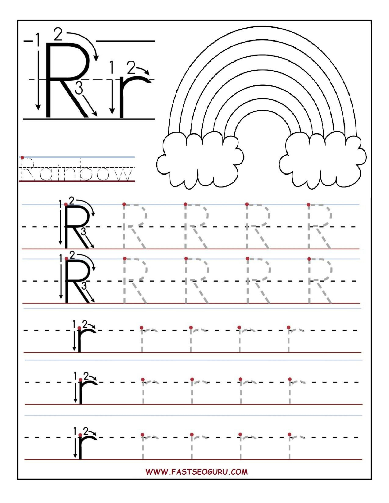 Printable Letter R Tracing Worksheets For Preschool within Alphabet Review Worksheets For Pre-K