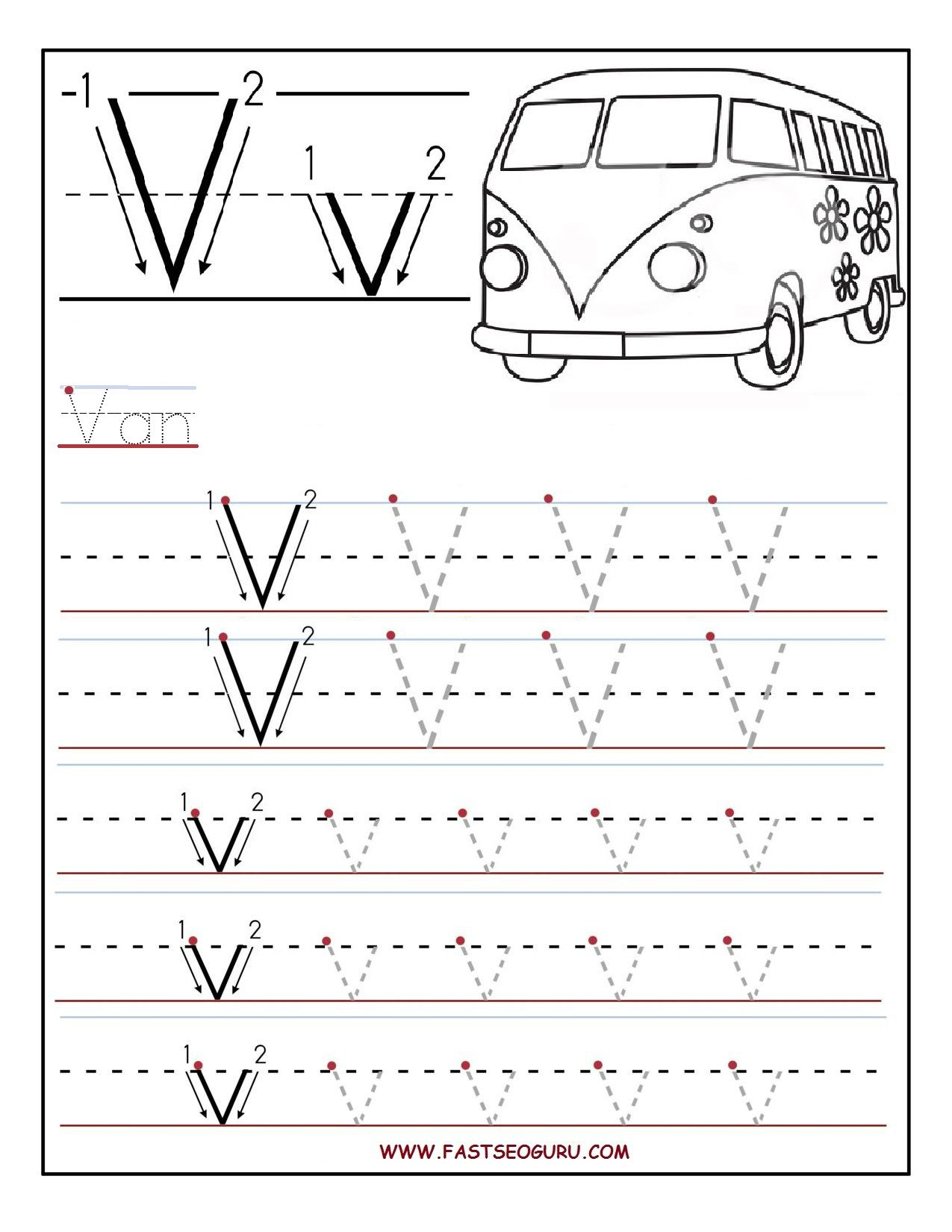 Printable Letter V Tracing Worksheets For Preschool with Preschool Alphabet V Worksheets
