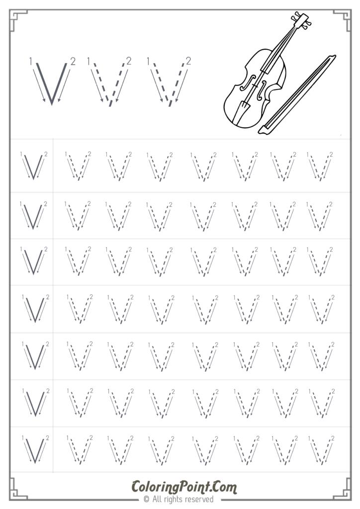 Printable Letter V Worksheet   Kindergarten   Coloring Point Inside Letter V Worksheets