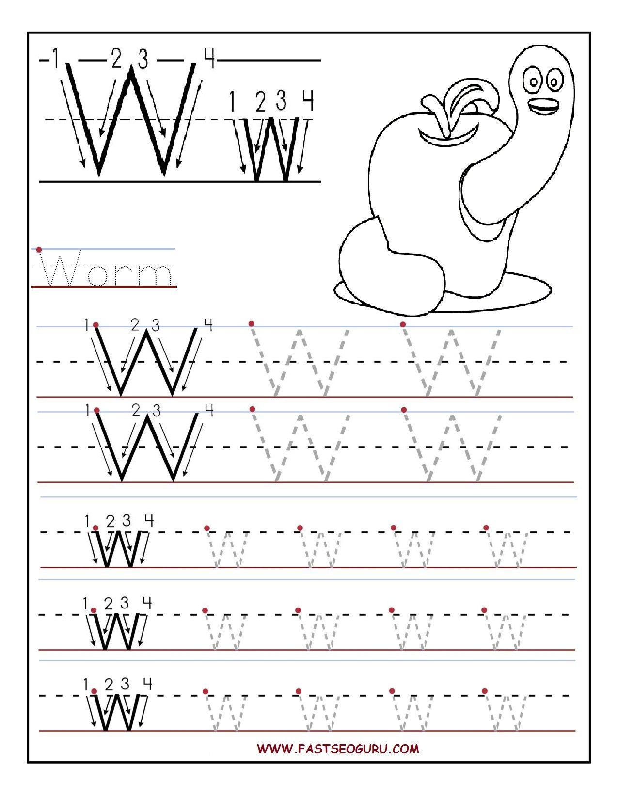 Printable Letter W Tracing Worksheets For Preschool for Alphabet Worksheets W