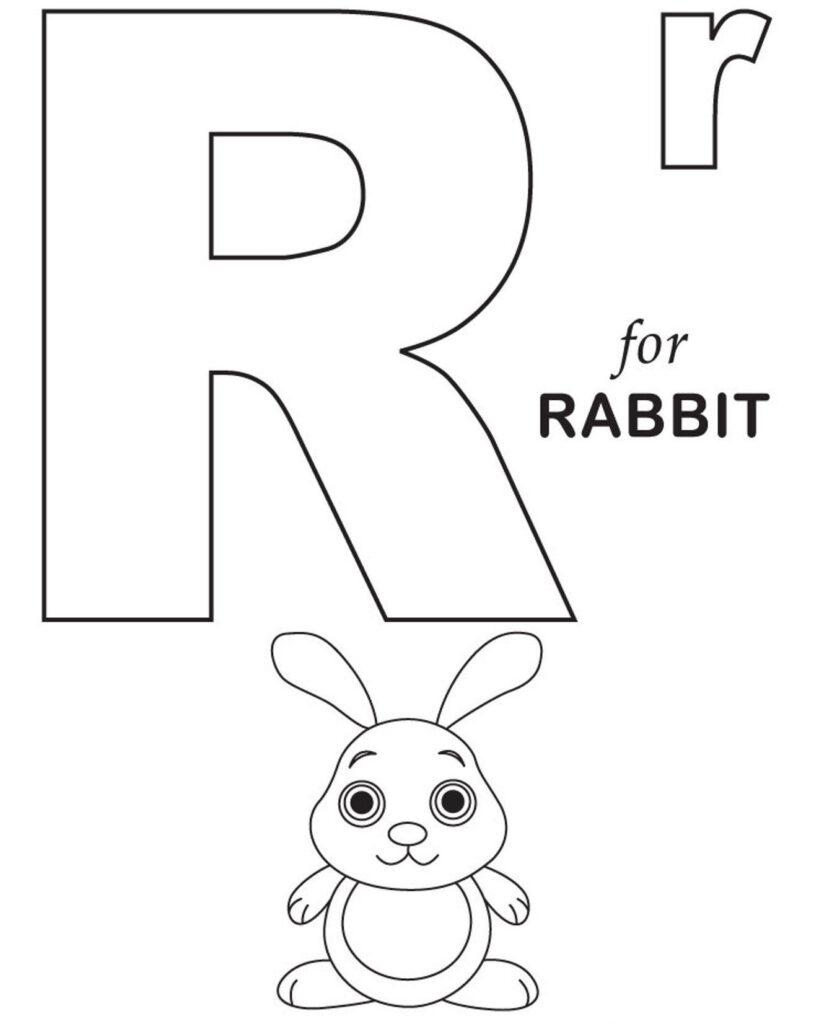 R For Rabbit Free Alphabet Coloring Pages | Alphabet Regarding Alphabet Colouring Worksheets
