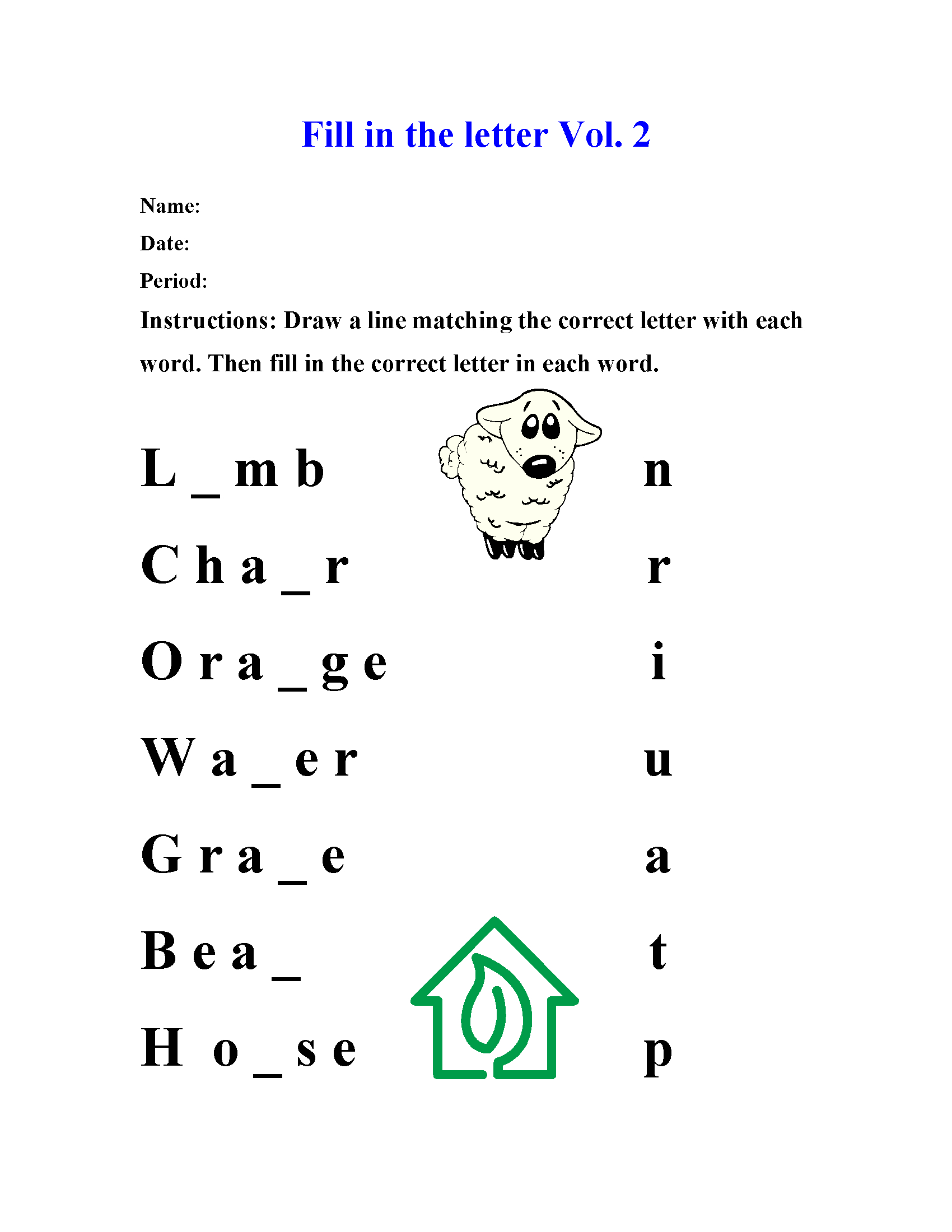 Spelling Worksheets | Fill-In The Letter Spelling Worksheets inside Alphabet Spelling Worksheets