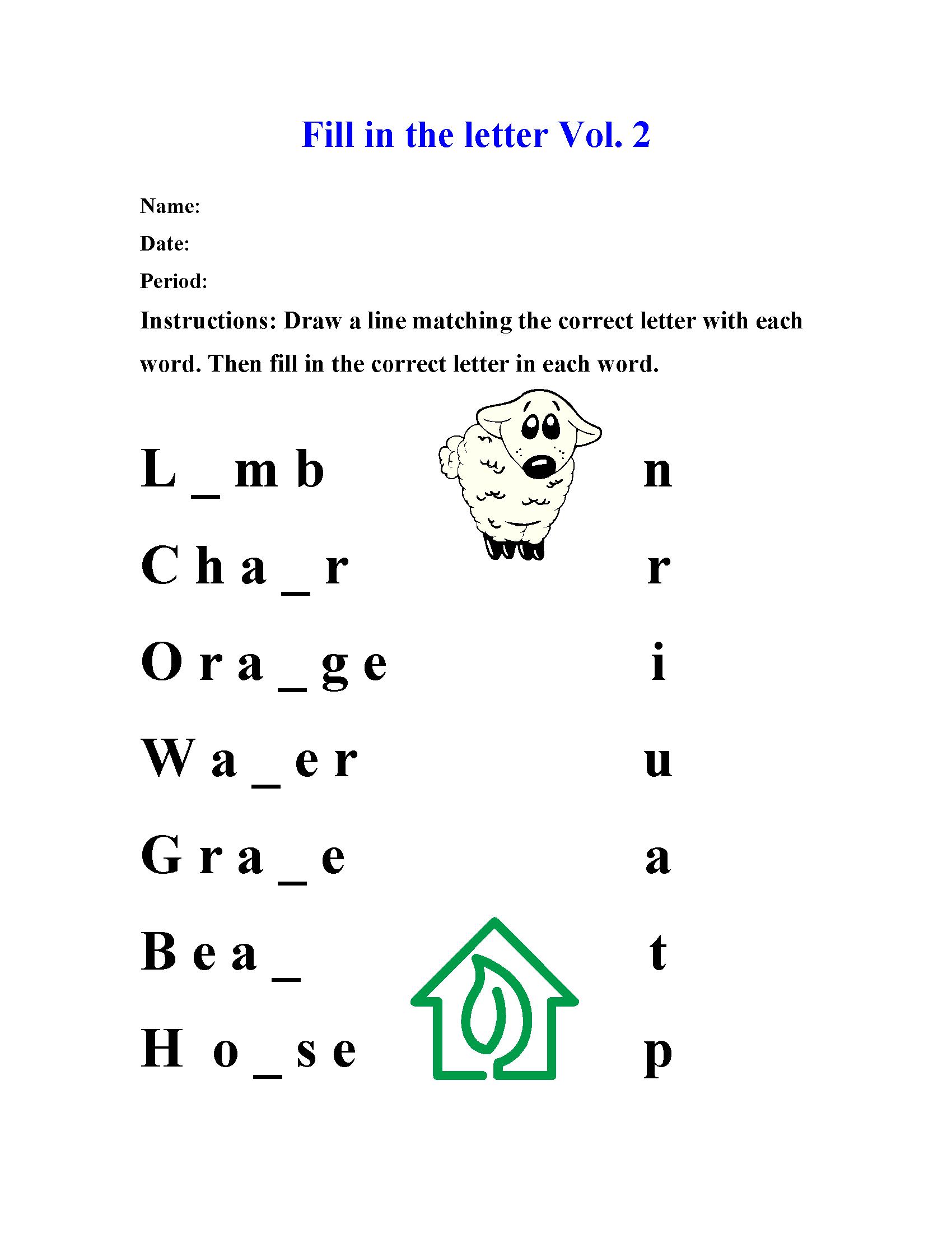 Spelling Worksheets | Fill-In The Letter Spelling Worksheets inside Alphabet Spelling Worksheets