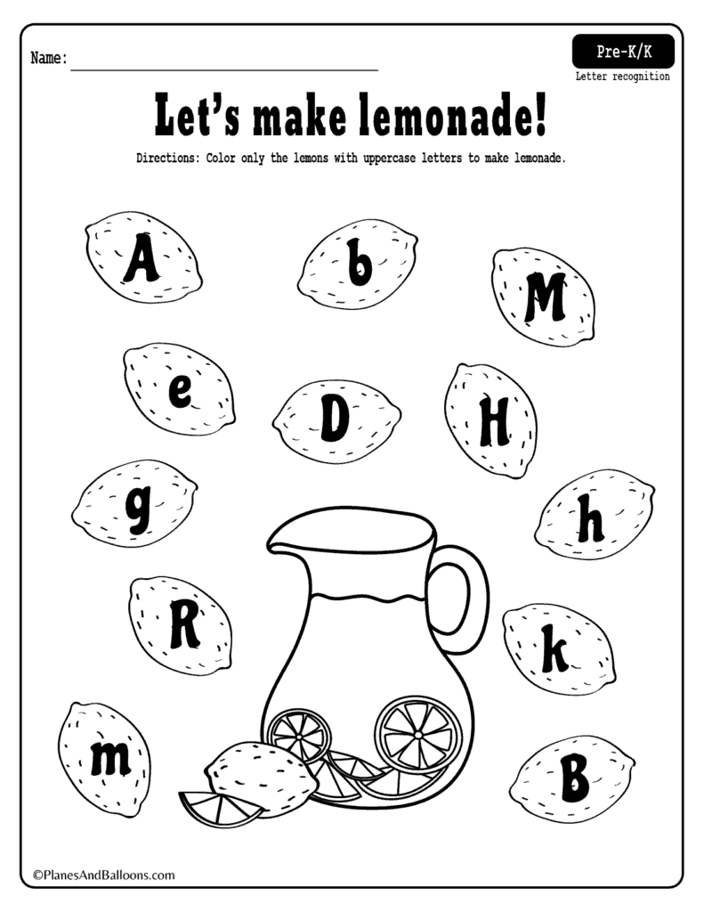 Summer Lemonade Fun: Letter Recognition Worksheets Pdf Set in Alphabet Recognition Worksheets For Kindergarten
