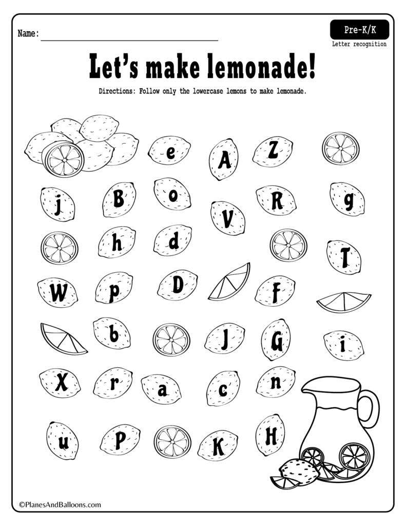 Summer Lemonade Fun: Letter Recognition Worksheets Pdf Set intended for Letter S Worksheets For Kindergarten Pdf