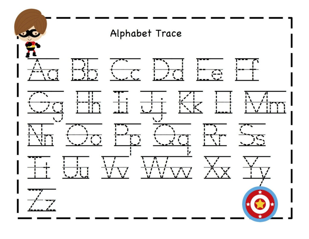 Super Hero Abc Tracing Sheets 1 Within Alphabet Worksheets For Preschoolers Printable