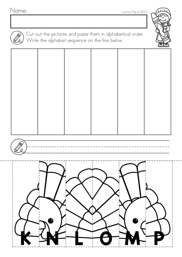 Thanksgiving Math & Literacy Worksheets And Activities With Letter Matching Worksheets Cut And Paste