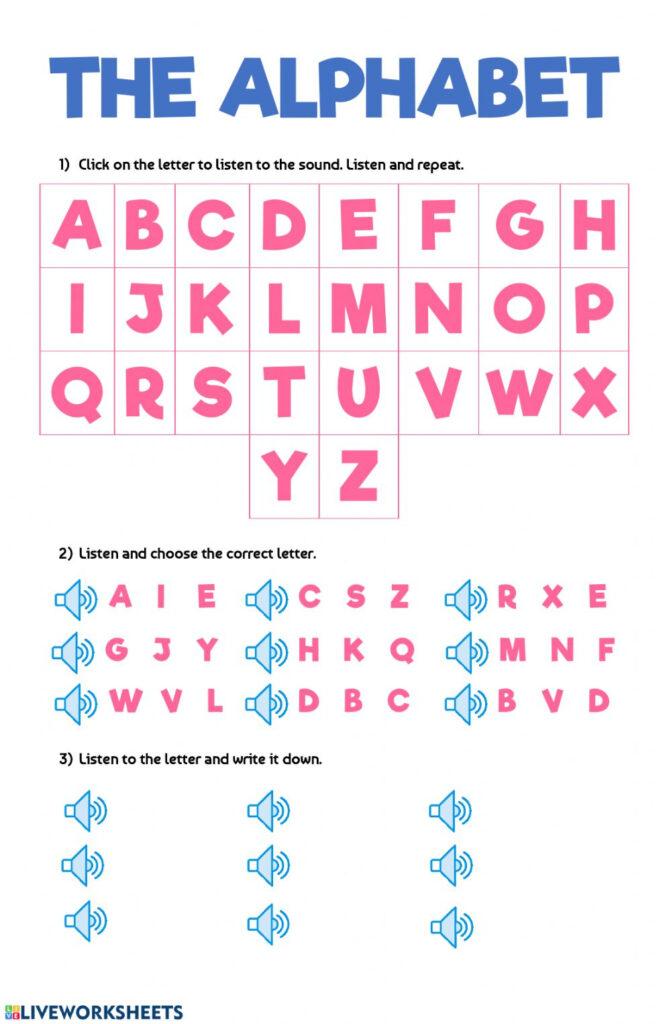 The Alphabet: Alphabet Worksheet Intended For Alphabet Worksheets Esl Pdf