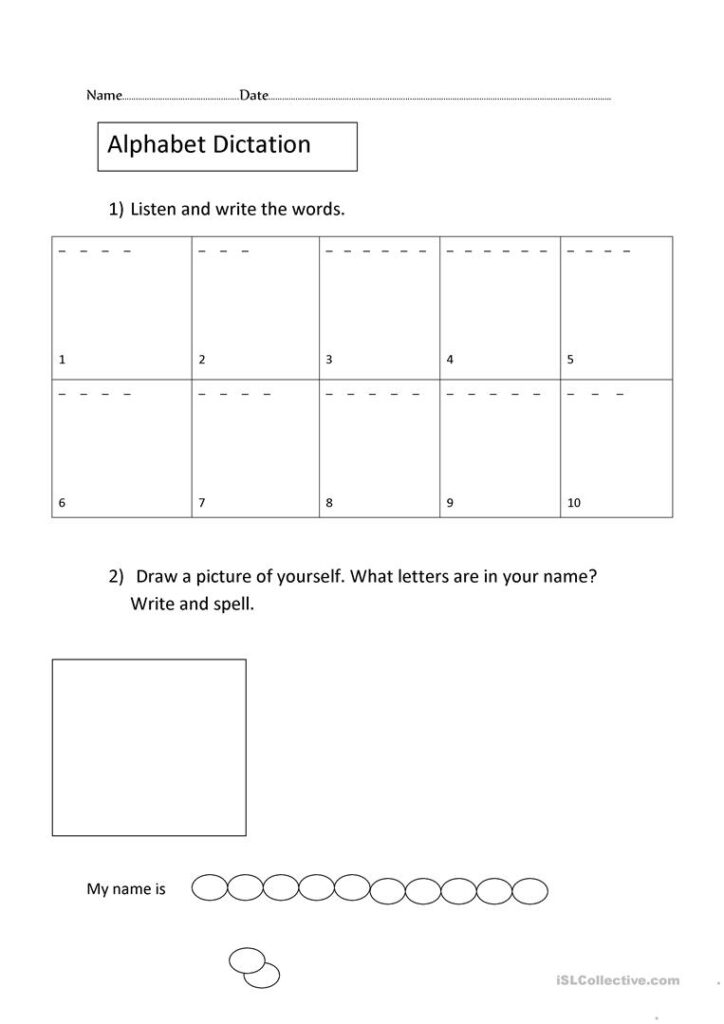 The Alphabet Dictation And Spelling   English Esl Worksheets Throughout Alphabet Spelling Worksheets