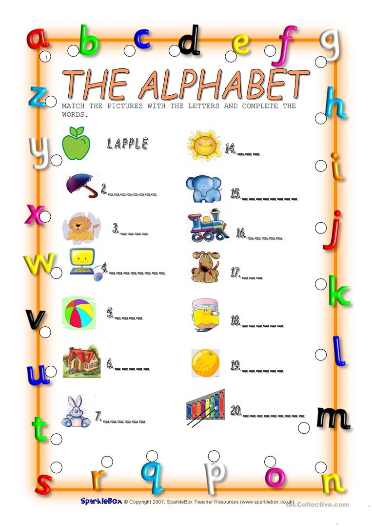 The Alphabet - English Esl Worksheets in Alphabet Worksheets Sparklebox