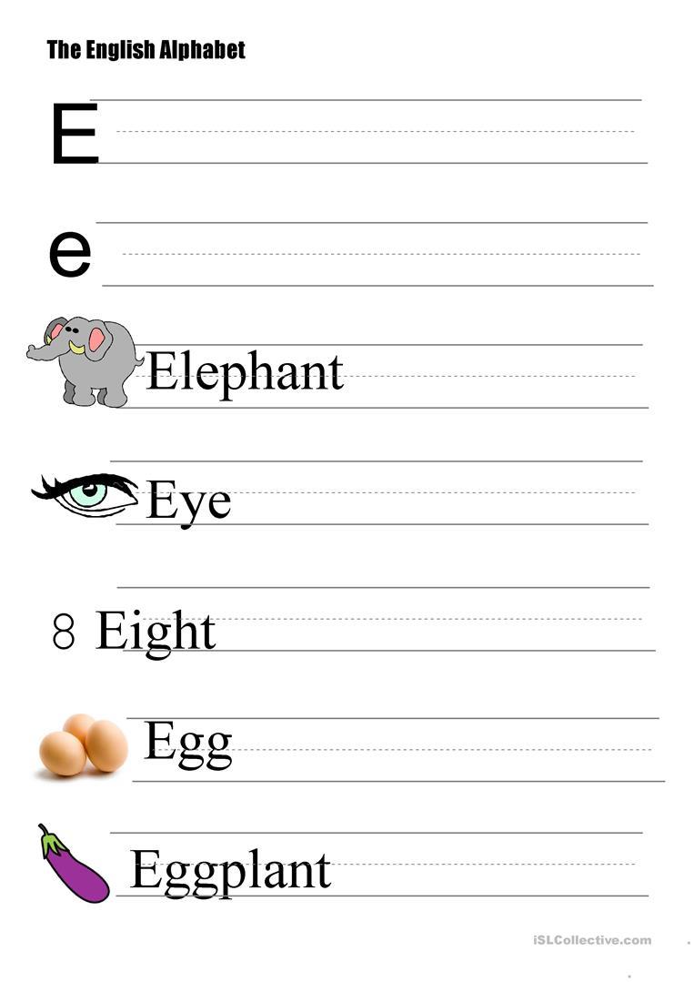 The Alphabet - Letter E - English Esl Worksheets within E Letter Worksheets