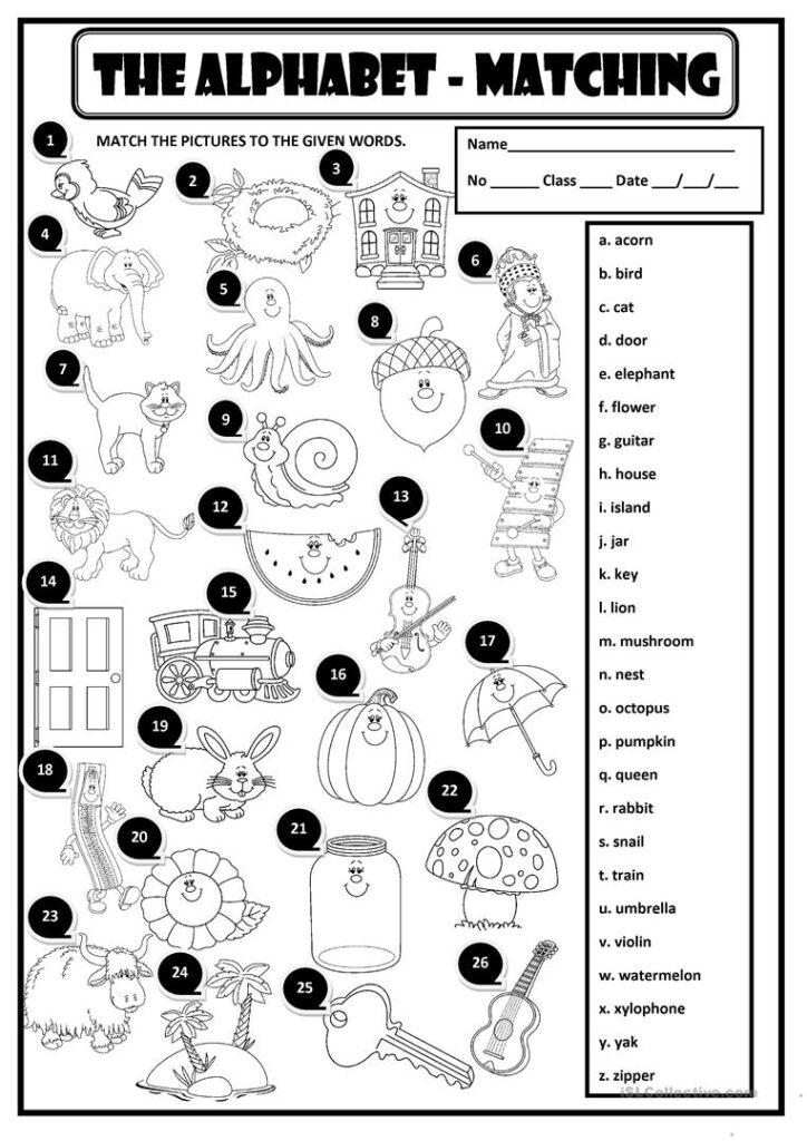 The Alphabet   Matching   English Esl Worksheets With Regard To Alphabet Worksheets With Pictures