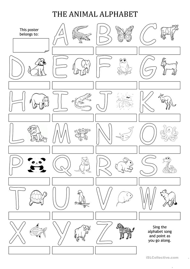 The Animal Alphabet - Poster - English Esl Worksheets throughout Alphabet Activity Worksheets