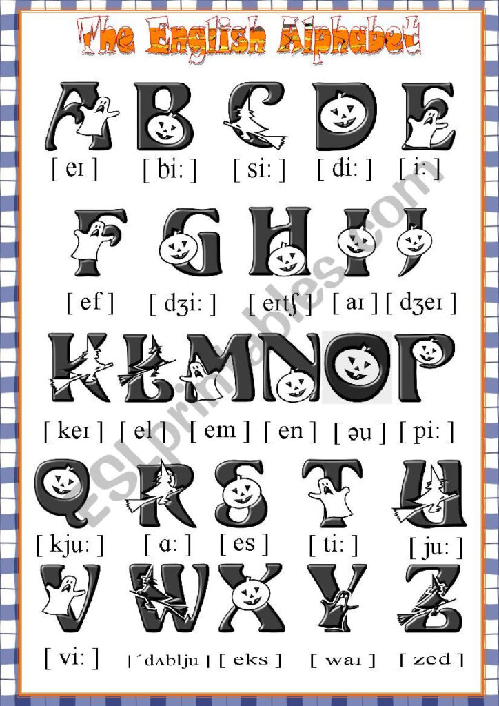 The English Halloween Alphabet Poster   Esl Worksheetkrümel Pertaining To Alphabet Halloween Worksheets