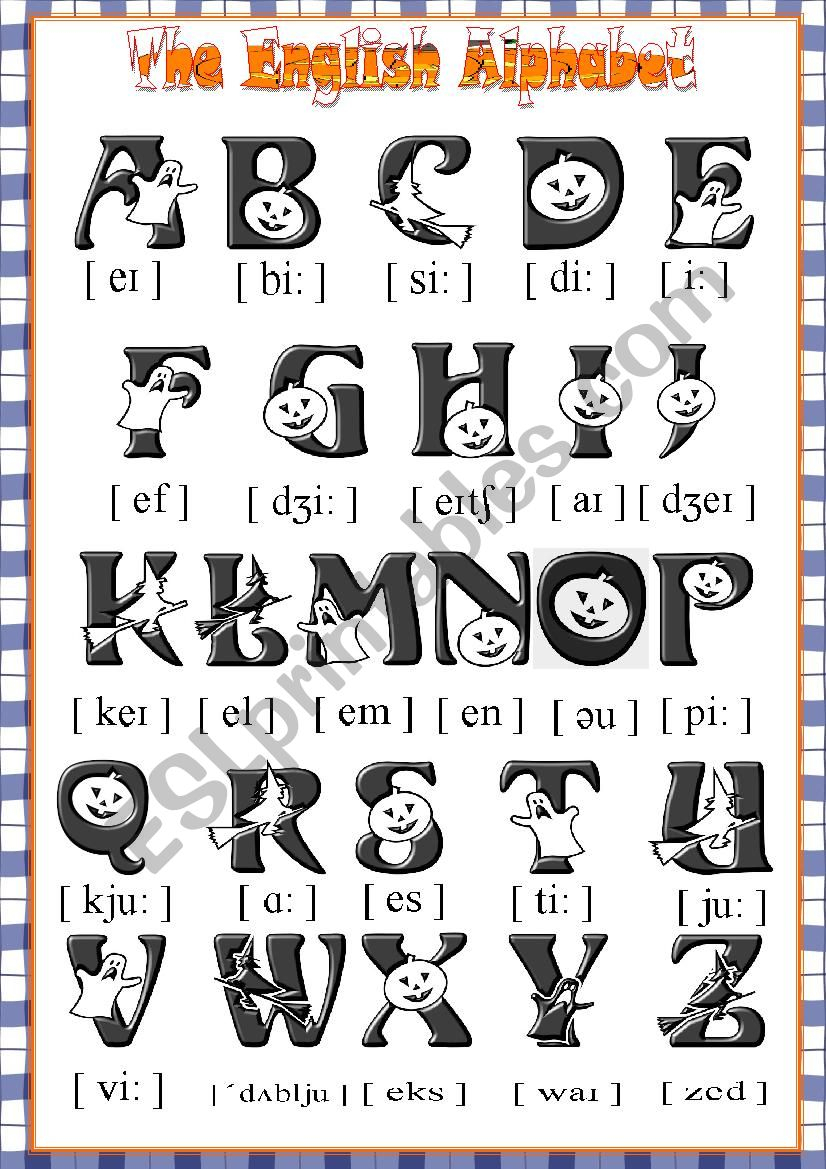The English Halloween Alphabet Poster - Esl Worksheetkrümel pertaining to Alphabet Halloween Worksheets