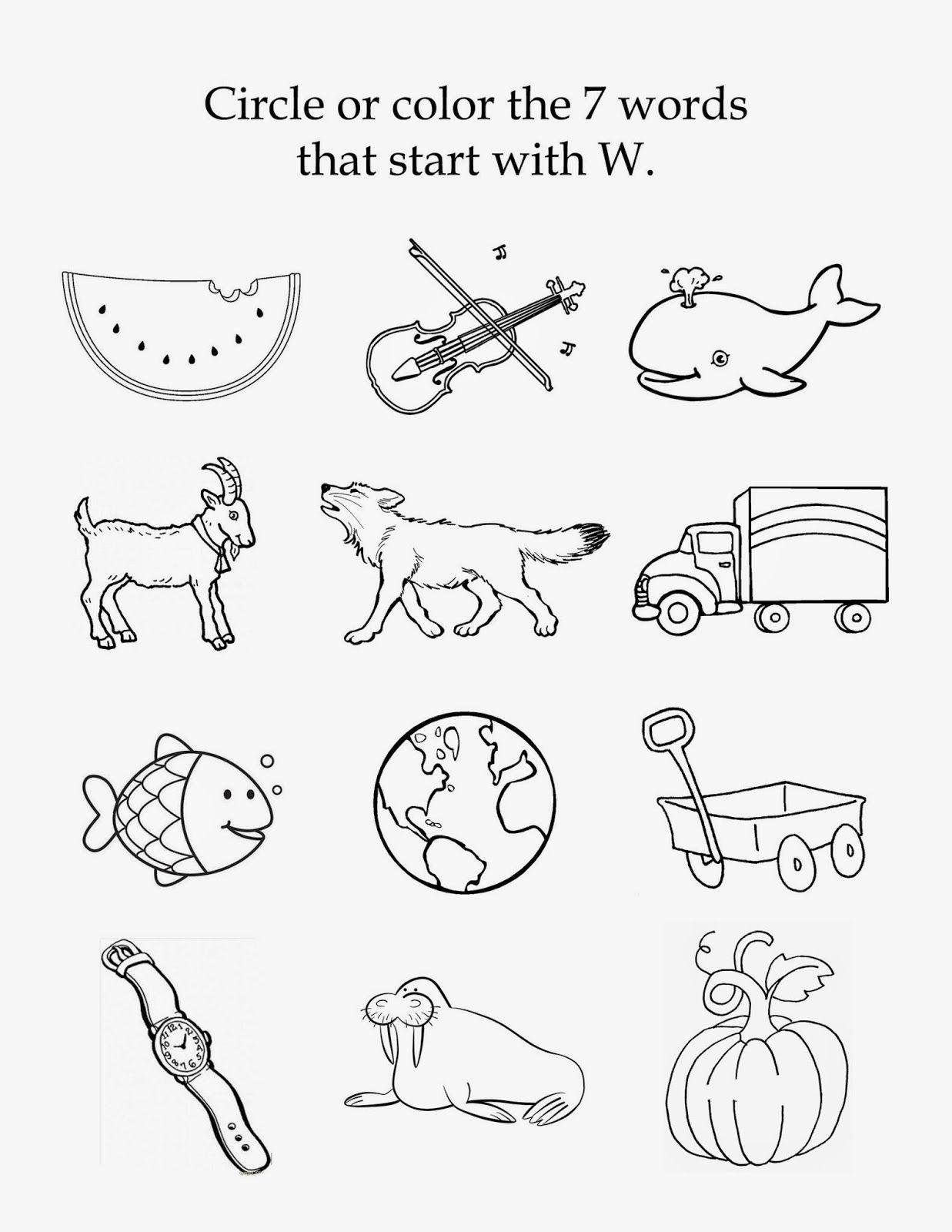 The Letter W - Free Beginning Sounds Printable Worksheet inside Letter W Worksheets For Pre K