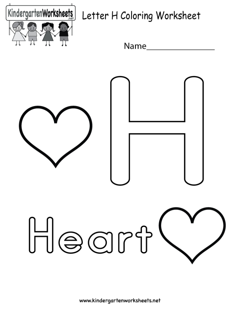 This Is A Cute Letter H Coloring Worksheet. This Would Be A Regarding Letter H Worksheets Free