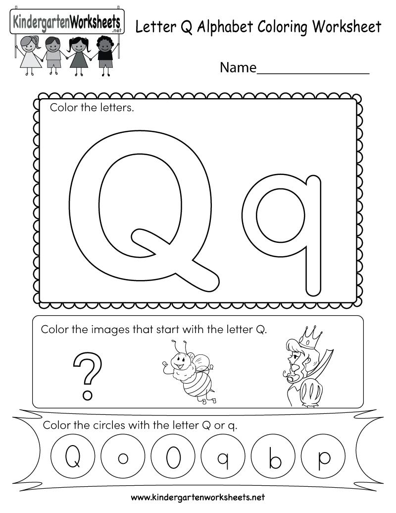 This Is A Letter Q Coloring Worksheet. Children Can Color for A Letter Worksheets Kindergarten