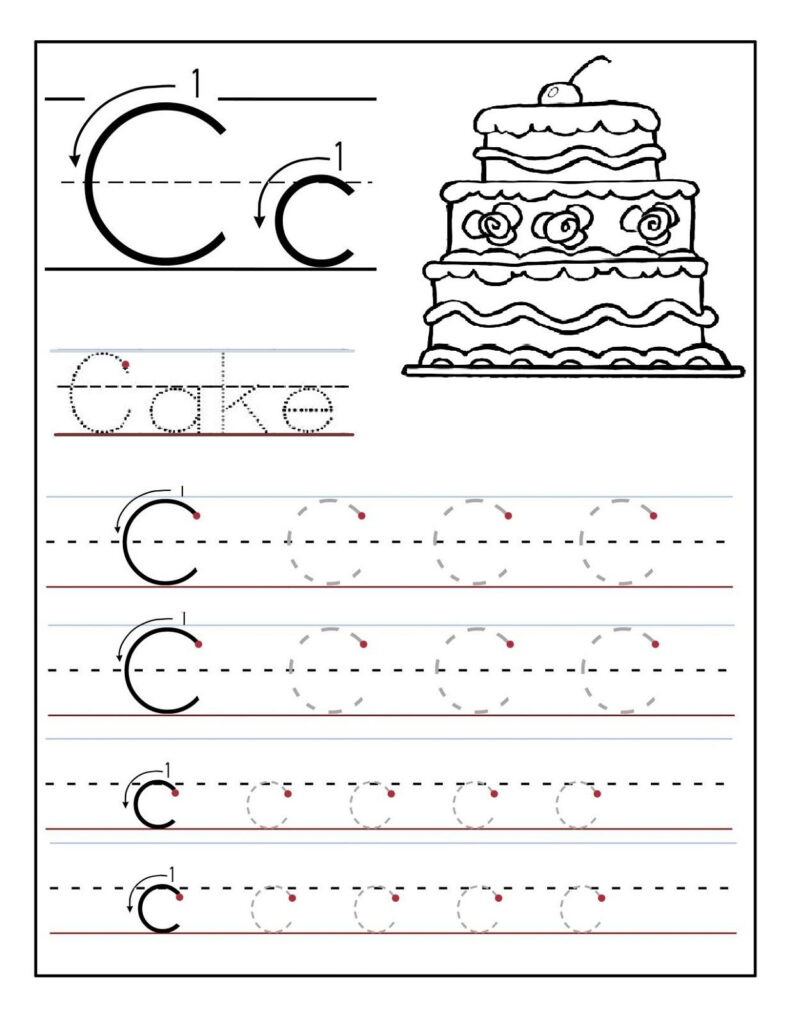 Trace The Letter C Worksheets | Preschool Worksheets, Letter Inside Letter C Worksheets Pdf