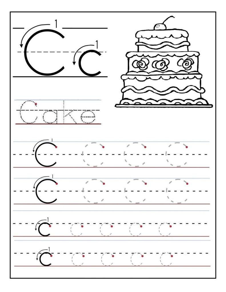 Trace The Letter C Worksheets   Preschool Worksheets, Letter With Regard To Letter C Worksheets For Nursery