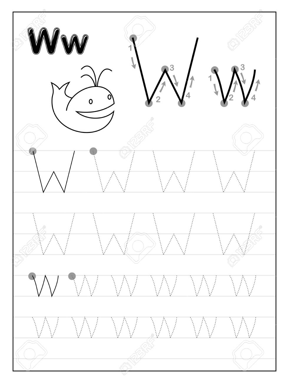 Tracing Alphabet Letter W. Black And White Educational Pages.. for Letter W Worksheets For Preschool