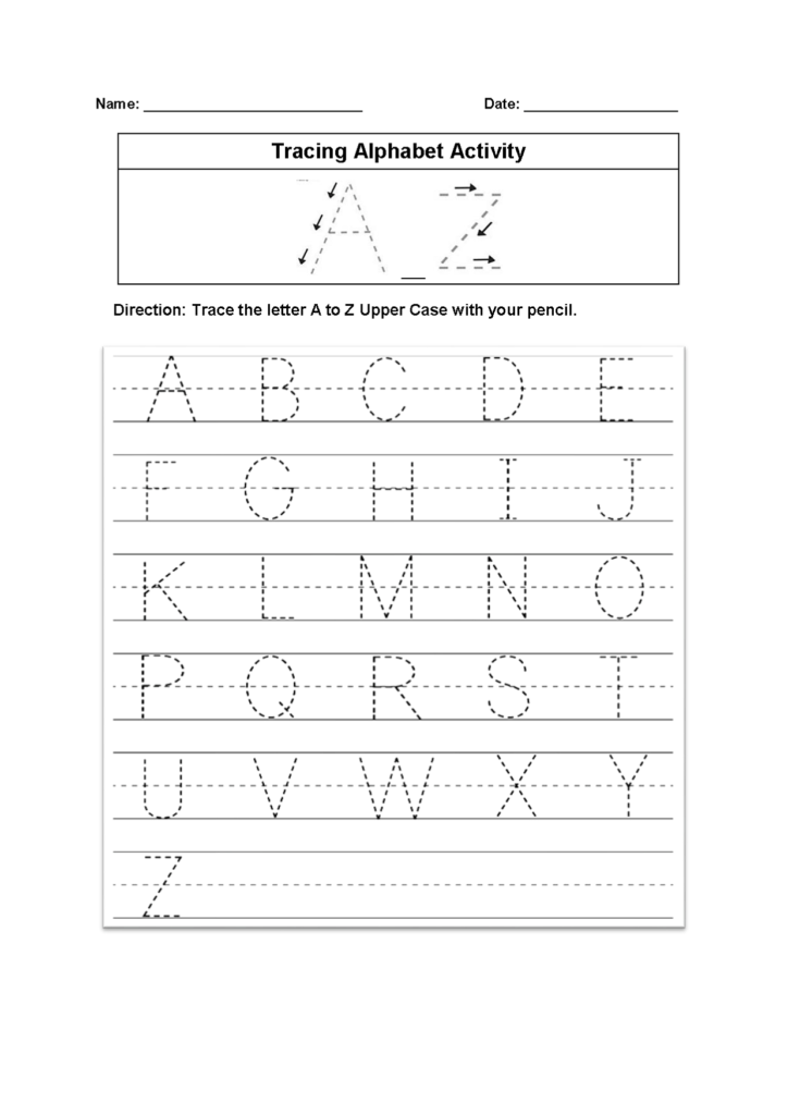 Tracing Alphabet Worksheets – Kids Learning Activity Intended For Letter Worksheets A Z