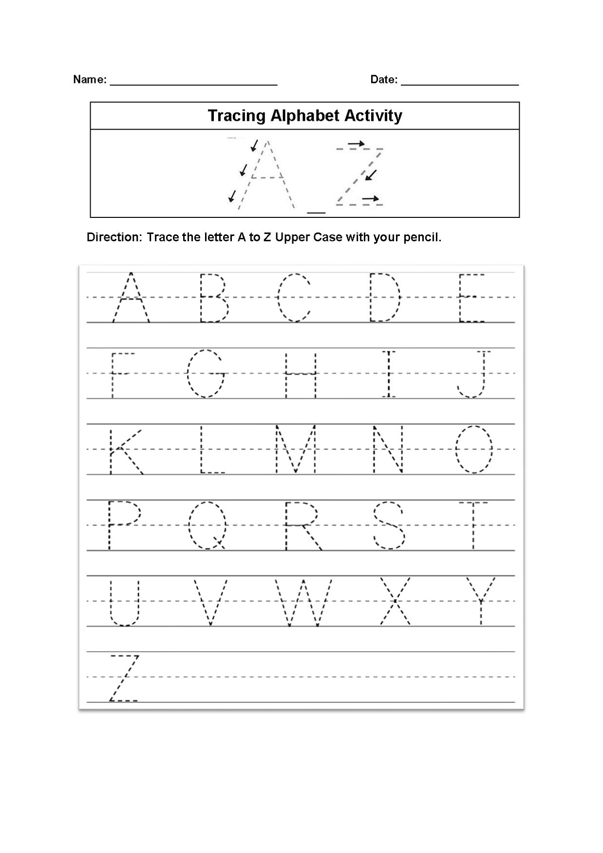 Tracing Alphabet Worksheets – Kids Learning Activity intended for Letter Worksheets A-Z