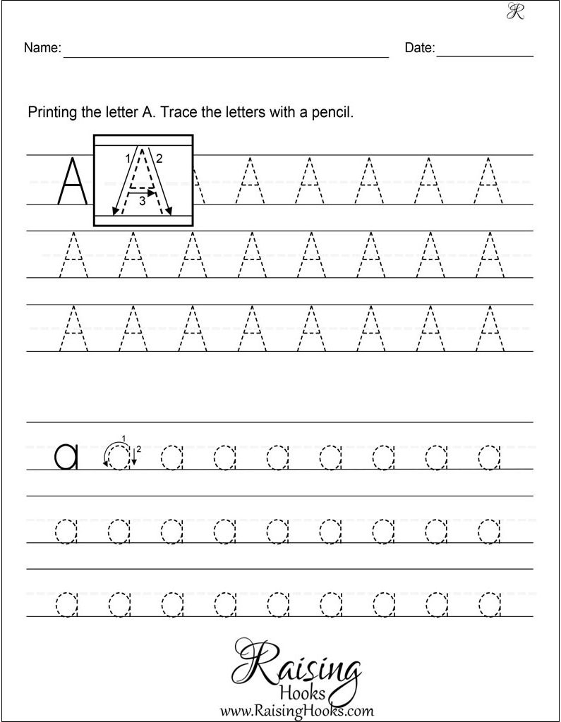 Tracing Each Letter A-Z Worksheets - Raising Hooks within Letter Worksheets A-Z